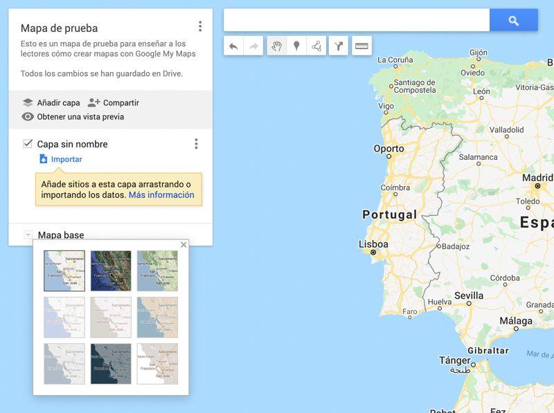 Crear mapas con Google My Maps: editar el mapa base