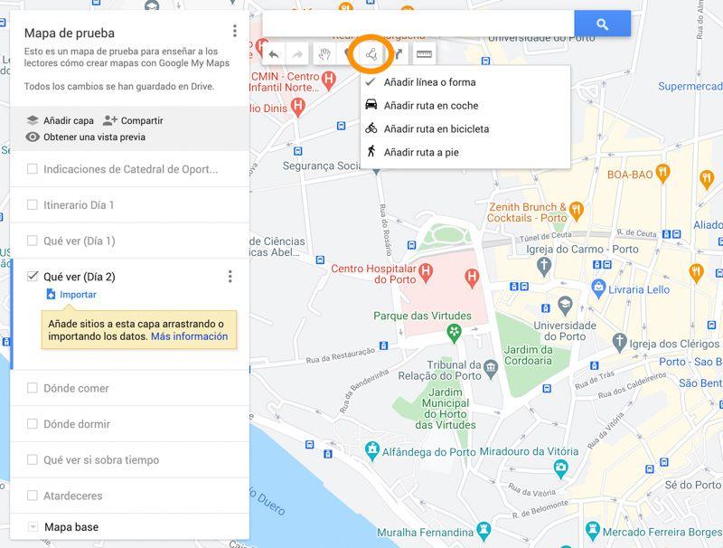 Crear mapas con Google My Maps: crear áreas, líneas e itinerarios por puntos 'a mano'