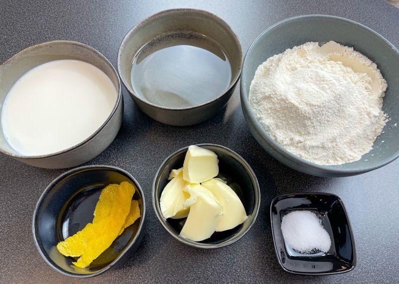 Receta de rissois de gambas: ingredientes para la masa