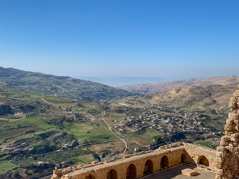 Carretera del Rey en Jordania: vistas desde el castillo de Karak